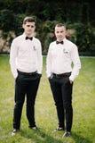 Marié et garçons d'honneur heureux images libres de droits