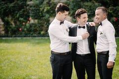 Marié et garçons d'honneur heureux photos libres de droits