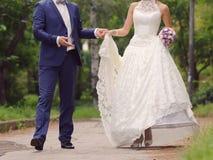 Marié et jeune mariée dans la robe de dentelle Photo stock