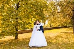 Marié et jeune mariée en parc d'automne Images libres de droits