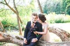 Marié et jeune mariée ensemble Épousant les couples romantiques extérieurs Image libre de droits