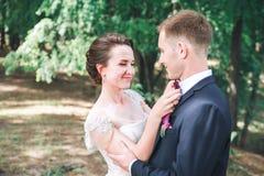 Marié et jeune mariée ensemble Accouplez étreindre Jour du mariage Belle jeune mariée et marié élégant marchant après cérémonie d Images libres de droits