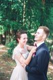 Marié et jeune mariée ensemble Accouplez étreindre Jour du mariage Belle jeune mariée et marié élégant marchant après cérémonie d Image stock