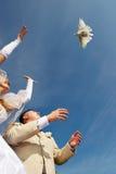 Marié et pigeons de mariée Images libres de droits