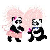 Marié mignon de kawaii et panda de jeune mariée prêt à se marier  Images stock