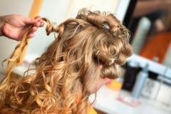 Mariée au coiffeur Photos libres de droits