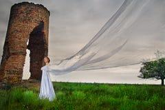 Mariée avec le long voile Images stock