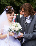Mariée avec le marié Photographie stock