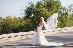 Mariée avec le voile sous la forme des ailes Image stock
