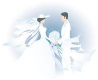 Mariée blanche et bridegroom1 illustration de vecteur