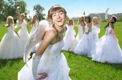 Mariée d'amorce avec des groupes de mariée Image stock