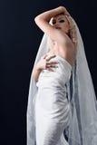 Mariée dans la robe avec le voile blanc Photographie stock