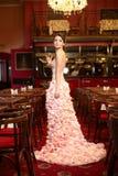 Mariée dans la robe de mariage exceptionnelle dans le restaurant Image stock