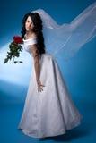 Mariée de Brunette avec les roses rouges Image stock
