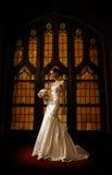 Mariée devant l'hublot en verre souillé images libres de droits
