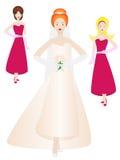 Mariée et demoiselles d'honneur dans la pose illustration stock