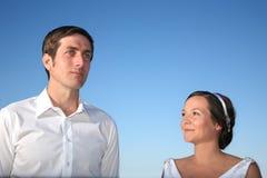 Mariée et marié à leur mariage Photo libre de droits