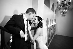 Mariée et marié élégants dans le palais de luxe Image libre de droits