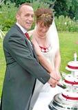 Mariée et marié coupant le gâteau Photos stock