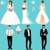 Mariée et marié Couples Positionnement Wedding ramassage illustration de vecteur