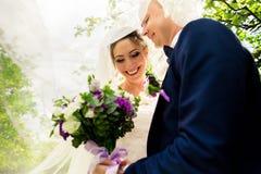 Mariée et marié dans des baisers de stationnement Images libres de droits