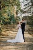 Mariée et marié dans des baisers de stationnement les jeunes mariés de nouveaux mariés de couples à un mariage dans la forêt de v Images libres de droits