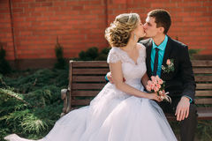 Mariée et marié dans des baisers de stationnement les jeunes mariés de nouveaux mariés de couples à un mariage dans la forêt de v Photo stock