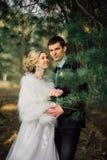 Mariée et marié dans des baisers de stationnement les jeunes mariés de nouveaux mariés de couples à un mariage dans la forêt de v Photos libres de droits