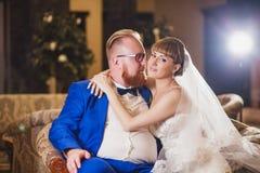 Mariée et marié drôles Images stock