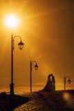 Mariée et marié embrassant au coucher du soleil Image libre de droits