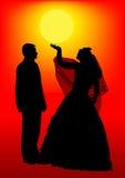 Mariée et marié en soleil Images stock