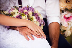 Mariée et marié le jour du mariage Photographie stock