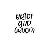 Mariée et marié manuscrit Calligraphie pour des cartes de voeux, invitations de mariage Photo stock