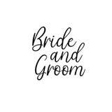 Mariée et marié manuscrit Calligraphie pour des cartes de voeux, invitations de mariage Image stock