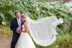 Mariée et marié près d'étang de lotos Photos stock
