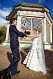 Mariée et marié sur la promenade de mariage Image libre de droits