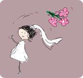 Mariée jetant le bouquet en l'air derrière elle. Images libres de droits