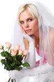 Mariée magnifique avec des roses photographie stock libre de droits