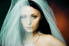 Mariée mystérieuse de brunette s'usant un voile Photos stock