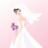 Mariée sur le fond rose Photographie stock
