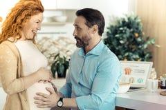 Mari barbu touchant le ventre de son épouse Photographie stock libre de droits