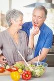 Mari de alimentation de femme supérieure heureuse tout en se tenant au compteur photographie stock libre de droits