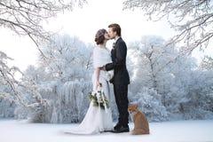 marié de mariée wedding à l'extérieur l'hiver Images libres de droits