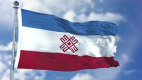 Mari El Flag in een Blauwe Hemel Royalty-vrije Stock Afbeeldingen
