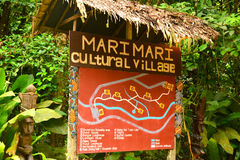 Mari Mari Cultural Village Sign in Sabah, Maleisië stock afbeelding