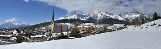 Maria Alm. Am Steinernen Meer town with Pilgrimage Church - Austria royalty free stock image