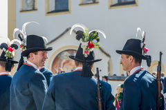 Maria Ascension procession Oberperfuss, Austria. OBERPERFUSS, AUSTRIA - AUG 15: Villagers dressed in their finest traditional costumes during Maria Ascension Royalty Free Stock Images