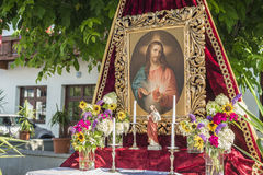 Maria Ascension procession Oberperfuss, Austria. OBERPERFUSS, AUSTRIA - AUG 15: Shrines during Maria Ascension procession along this village near Innsbruck on Stock Images