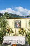 Maria Ascension procession Oberperfuss, Austria. OBERPERFUSS, AUSTRIA - AUG 15: Shrines during Maria Ascension procession along this village near Innsbruck on Stock Photography