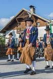 Maria Ascension procession Oberperfuss, Austria. OBERPERFUSS, AUSTRIA - AUG 15: Villagers dressed in their finest traditional costumes during Maria Ascension Stock Photography